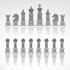 Chess set1 on gray background. Vector art.