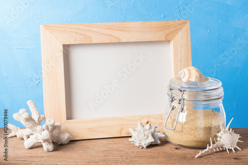 still life photography : handicraft wood frame with sand in glass ...