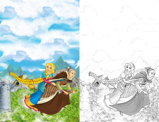 Cartoon scene of a with flying on a broomstick with young girl - in background collapsing medieval tower - beautiful manga girl - with coloring page - illustration for children