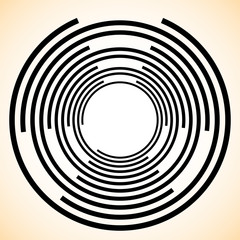 Spiral / Vortex element. Concentric, radiating lines abstract gr