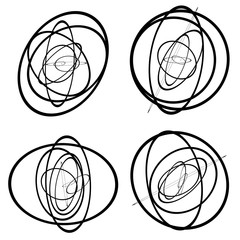 Random circles, ovals forming squiggly lines. Abstract artistic