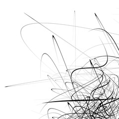 Monochrome random chaotic squiggle lines abstract artistic patte