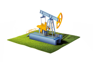3d model of ground with grass and oil pump jack isolated on whi