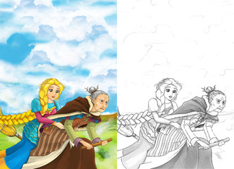Cartoon fairy tale scene with princess flying on the broomstick with the witch - beautiful manga girl - with coloring page - illustration for children