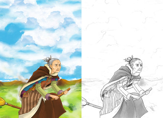 Cartoon scene of a witch flying with a young girl on a broom - manga older woman - with coloring page - illustration for children