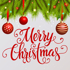 Merry Christmas Lettering with Decoration