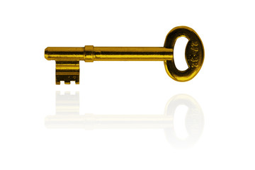 old key isolated on white with alpha chanel