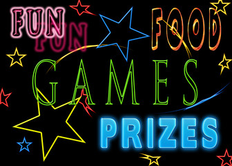 Fun image advertising for an event and or party that includes, games, food and prizes.  Isolated on black background.  Text in neon colors.