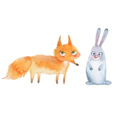 Animal set. Fox and hare. Watercolor illustration, isolated on white
