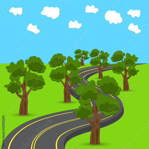 highway receding into the distance in the animated style green oak