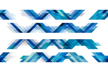 Blue tone triangles on isolated white background