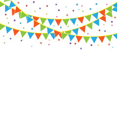 Party flags with confetti.