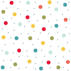 Seamless colorful polka dots in vector design