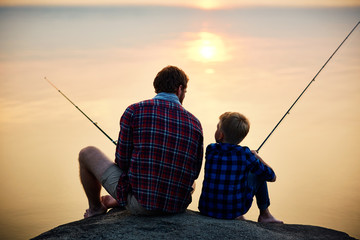 Spoed Fotobehang Vissen Evening fishing