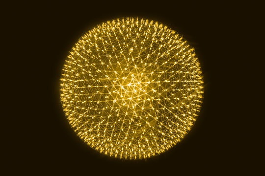 Orange LED Ball Simulation of Nucleus of Atom science abstract concept.