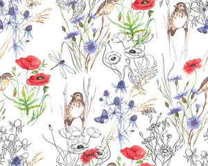 Hand-drawn watercolor floral seamless pattern. Summer meadow flowers - poppy, cornflowers, grass, feverweed, butterflies and birds on the white background, Repeated pattern for textile, wallpaper.