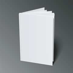 Blank Flying Cover Of Magazine, Book, Booklet, Brochure. Illustration Isolated On Dark Background. Mock Up Template Ready For Your Design. Vector EPS10