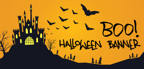 Halloween banner with scary castle