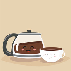 Funny cup of coffee and funny coffee pot. Friend forever. Vector illustration. Comic character