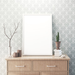 Tela bianca appoggiata su mobile arredamento minimal 3d render