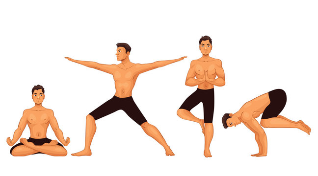 Set with handsome young man in various poses of yoga, cartoon style vector illustration isolated on white background. Fit and strong young man doing yoga, collection of asanas, healthy lifestyle