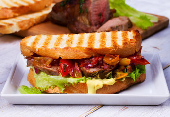 Beef Sandwich with Tomatoes, Coriander, Red Onion and Green Salad