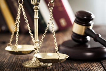 Justice scale gavel on the desk