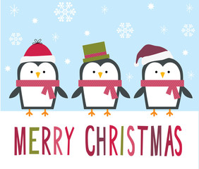 Christmas card with cute penguins design