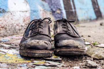 Homeless man shoes
