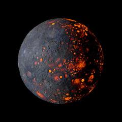Alien hot planet on black background 3d rendering.