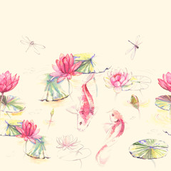 Hand-drawn watercolor seamless pattern in Japan style with lotus flowers, leaves and Koi carp fishes. Repeated background for wallpapers, textile etc.