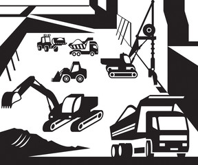 Construction and excavation machinery - vector illustration