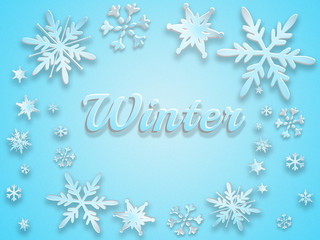 """Inscription """"winter"""" surrounded by snowflakes on a blue background. 3d illustration."""