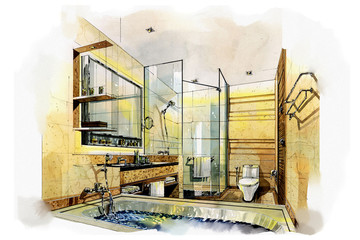 sketch interior bath room into a watercolor on paper.