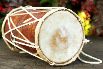 Traditional Indian djembe drum. Soft blurred background