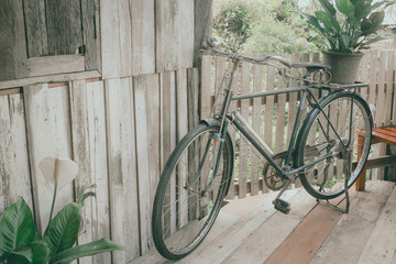 vintage bike in wood house for background.