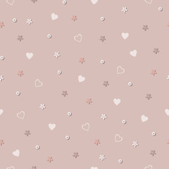 Lilac background with hearts and flowers.Pink seampless pattern