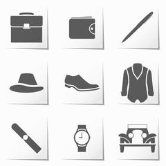 accessories for men icon, retro