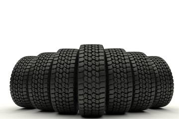 3d illustration Car tires in row isolated on white background