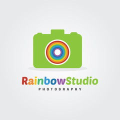Rainbow studio photography logo design concept rainbow and camera icon in flat style Vector Illustration.