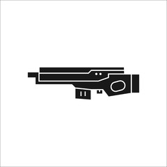 Futuristic large laser gun rifle sign silhouette icon on background