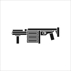 Grenade launcher gun sign silhouette icon on background