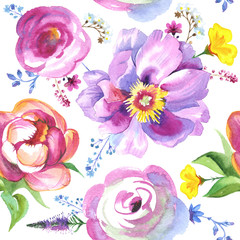 Peony flower pattern in watercolor. Could be used for: background, poster, print, romantic invitation, decoration, similars or pattern.