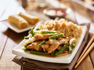 chinese greenbean and chicken stir fry with fried rice