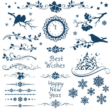 Vector set of New Year calligraphic elements and ornaments for page decor. Christmas decorations.