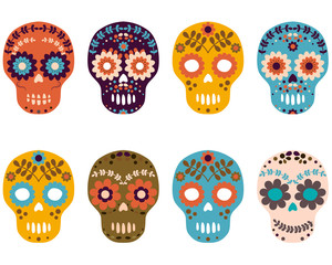 Day of the Dead Sugar Skulls, Colorful Flower Skull Set