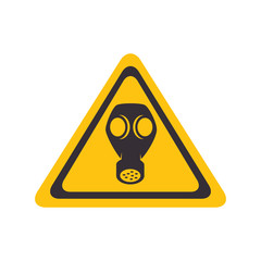 gas toxic mask yellow warning sign vector illustration
