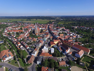 aerial view of the city buetzow in germany