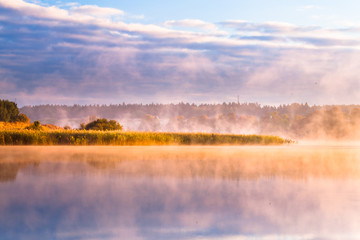 misty morning on Mazury lake