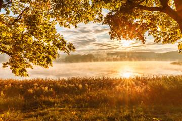 misty morning on Mazury lake